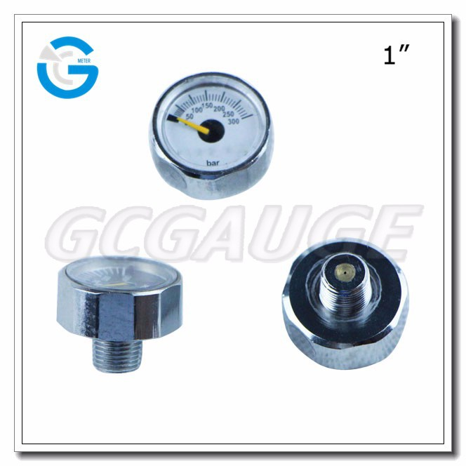 High quality 23mm 25mm 300bar air pressure gauge 1""