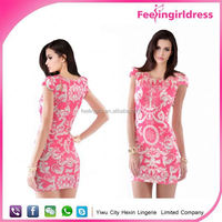 New Fashion Floral Printing Spandex Clubwear Tight Dress