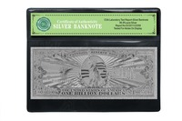 Hot sale USD 1 Billion dollar US America Silver plated banknote of silver foil banknote bill With COA frame gift
