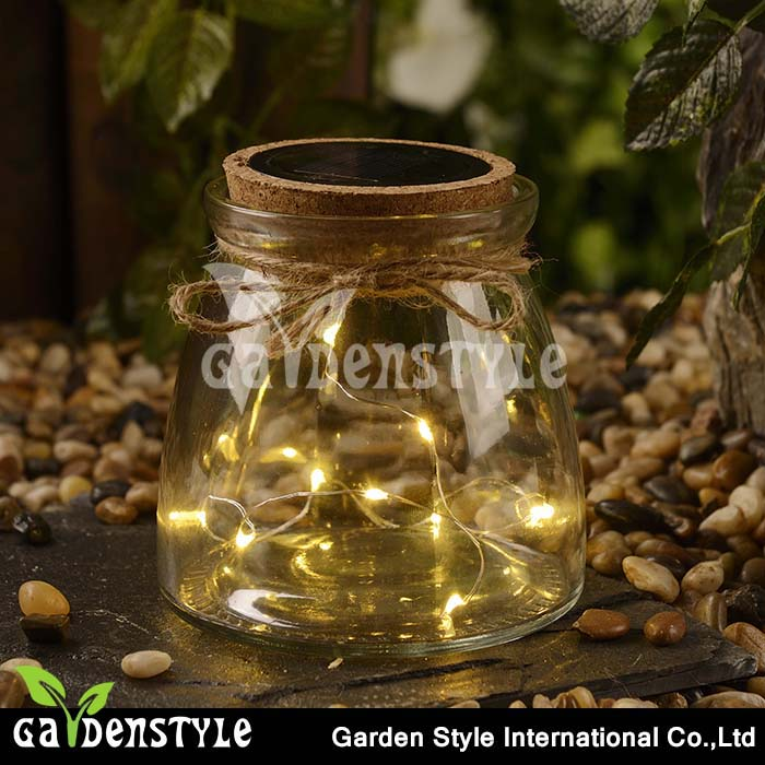 Water Bottle Glass Sun Jar Festival Decoration LED Hanging Solar Light