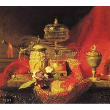 100% Handmade famous still life vegetable and food oil painting on canvas, A Still Life With Iris And Urns On A Red Tapestry