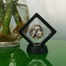 Square shape cheap transparent film suspended plastic frame coin display box
