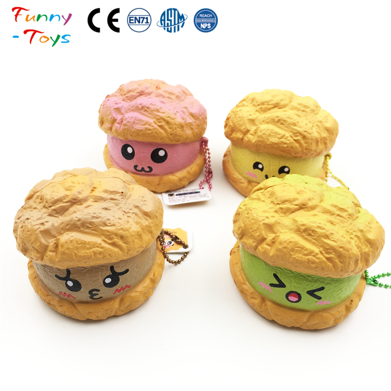 New Style High Quality Bear Sandwich Biscuit Squishy Squeeze Stress Balls Slow Rising Scented Keychain Wholesale Toys