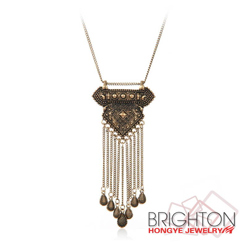 Antique Gold Pendant Tassel Neckalce N7-10061-3560