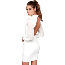 B40260A Latest design women black and white long sleeve backless dress