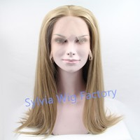 Natural looking silky straight wigs synthetic lace front wig heat resistant exquisite brazilian Synthetic Hair in stock