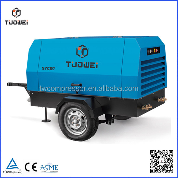 china portable small diesel screw air compressor for drill rig , kaishan brands air compressor