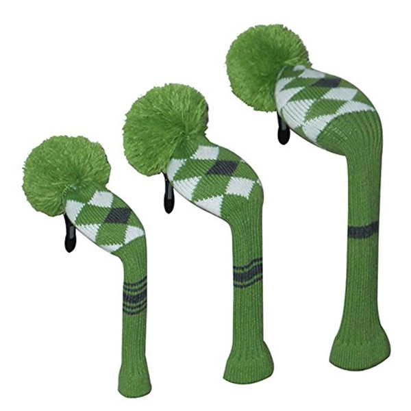 Black $ white stripe acrylic knitted golf club headcover pom pom classic head cover