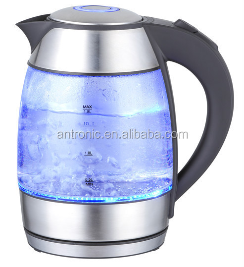 Antronic 2200w 1.7L electric glass kettle with concealed stainless steel heating element GS/CE approval