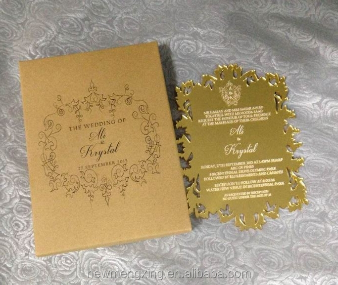 luxury Gokd Mirror acrylic wedding invitation Die cut cards