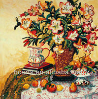 BC13-6054 Pure hand-painted painting on canvas high quality fruit and flower vase oil painting