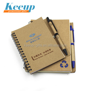 Custom Recycled Kraft Cover Blank Paper Spiral Notebook with Pen