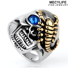 MECYLIFE Personalized Gold Scorpion Ring Stainless Steel Skull Wedding Bands Ring