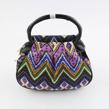 Stripe dot flowers double zipper leisure fashion handbag wholesale