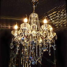 classical luxury crystal and glass chandelier and pendant light with hanging crystal ball with E27