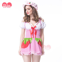 Stylish Plaid Cute Uniform with Hat Sexy Maid Costume Dress