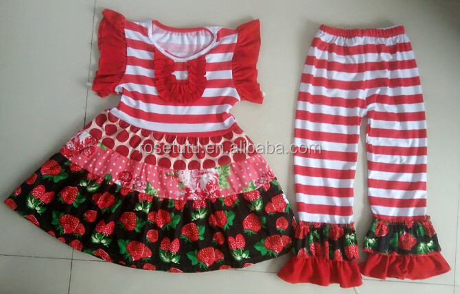 Baby girls Valentine's clothing Strawberry print sleeveless dress and ruffle pants baby wholesale clothing karachi