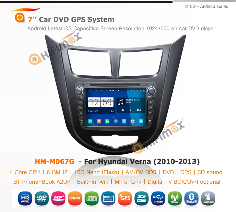 HIFIMAX Android 4.4.4 car dvd gps navigation system for HYUNDAI Verna Accent Solaris (2010-2013)