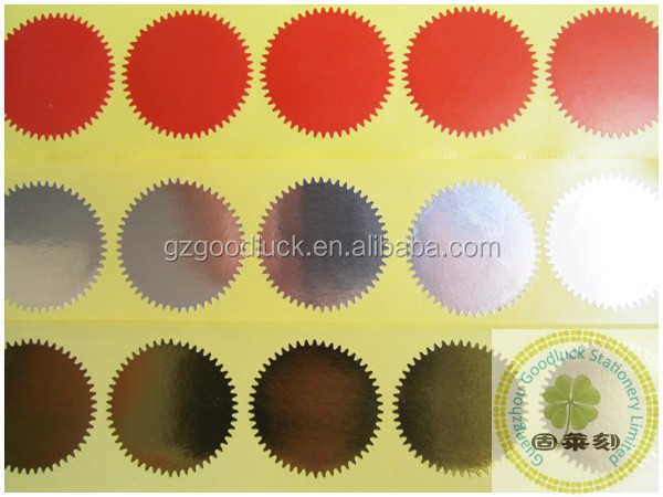 Different colors custom gold embossed seals/Golden custom gold embossed seals