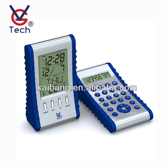 VGW-8015 Unique Blue Plastic Digital Clock With Calculator Calendar