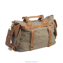 Fashion Waxed Canvas Duffle Bag Vintage Real Leather Travelling Bags