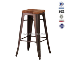 Vintage brushed cooper oak wooden seat high end metal bar stool chair, high bar stool