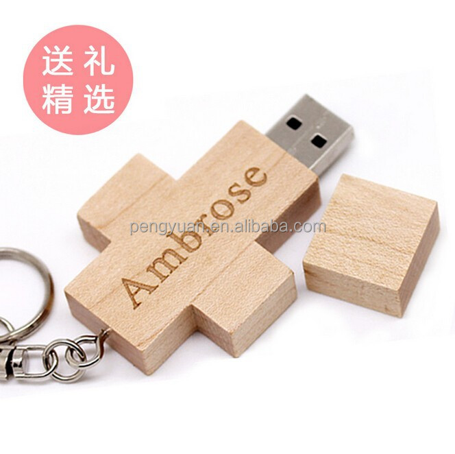 Gift engraving logo bulk Christian cross wooden usb , wholesale christian gifts usb pen drive for Christian church (PY-U-128)