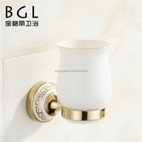 Fresh design Zinc alloy and Ceramic bathroom accessories Wall mounted Gold finishing Single tumbler holder-11838