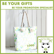 Digital imprint full color Custom canvas tote bag with Cotton String Handle zipper closure and snap fastener
