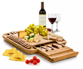 Bamboo Cheese Board Cutlery Set chopping block with Slide-Out Drawer
