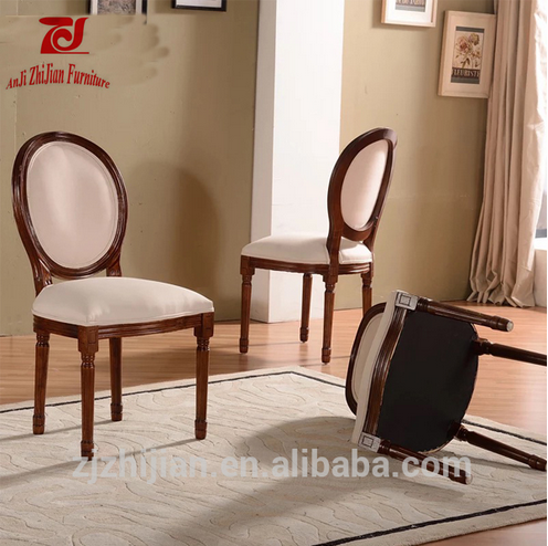 PU Leather Round Back Chair French Style Wooden Dining Chair