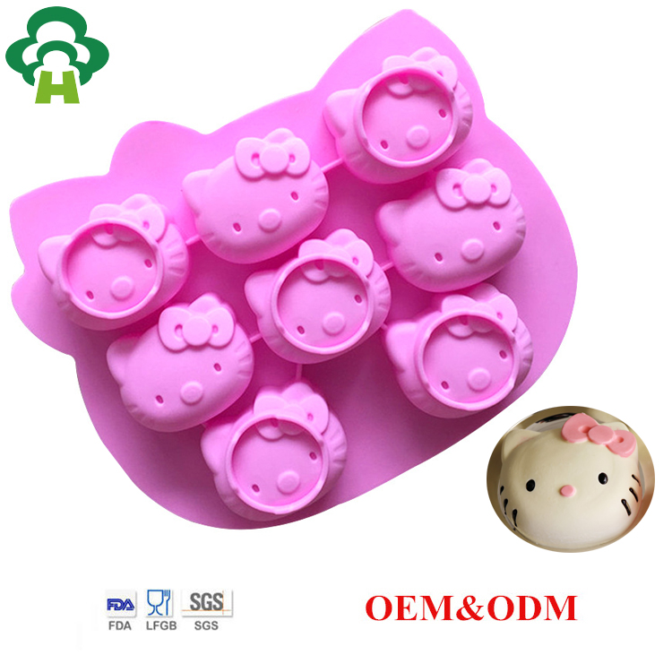 Free Shipping Wholesale hello kitty silicone cake baking tool customized soap mold cake molds for kids cat cake shape
