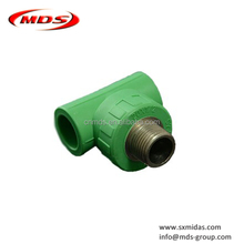 green white ppr pipe fittings male thread tee plastic pipe compression fittings