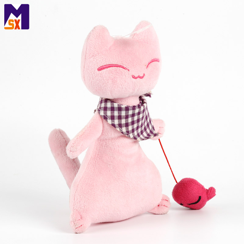 Newest toys for 2018 embroidery plush pink cat stuffed animal