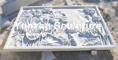 Hand Carved White Marble Stone lotus Relief Sculpture