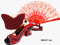 MS4317 red Italian Shoes Matching Bags High Quality For party/wedding Italy fashion lady evening Shoes mathing Bags