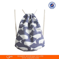 Unisex Canvas Whale Cartoon Drawstring Backpack Printed Outdoor Shopping Bags Travel Bag School Backpack