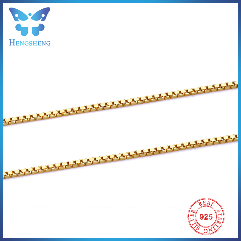Hengsheng 925 sterling silver gold plated necklace <strong>chain</strong> with spring clasp hot sale