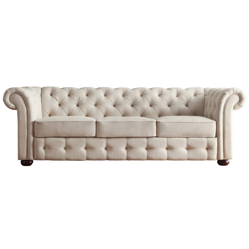 Beige Linen Fabric Tufted Scroll Arm Chesterfield Sofa Mo002 Buy Fabric Lounge Chesterfield