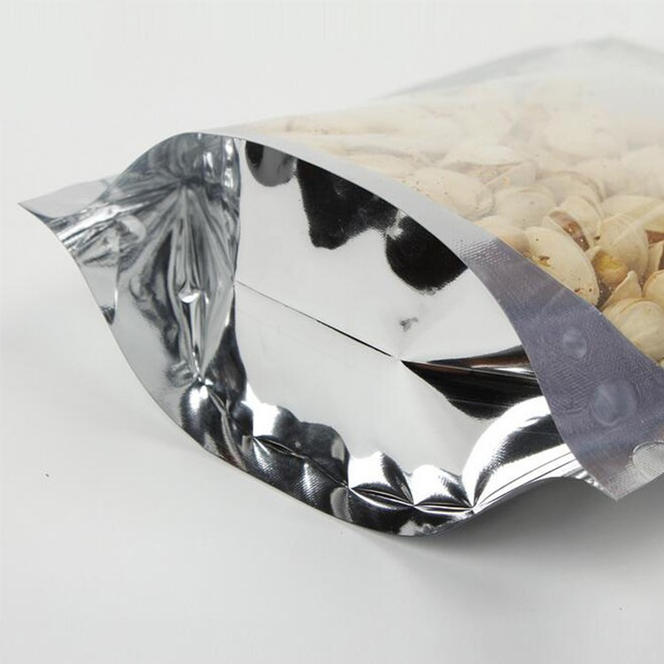 Front Clear Plastic Bag Aluminum Foil Standing Up Pouch Custom Plastic Zipper Bag