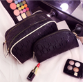 Black Printing pure color double zip Top Makeup Case High capacity Portable Cosmetic Bag