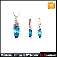 2016 New Arrival Women Jewelry Set Single Diamond Crystal Jewelry Drop Earring Pendant Necklace Jewelry Sets Wholesale