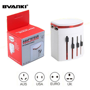 High Quality portable International EU UK US AU Plug With Dual 2.1A USB Port Universal Travel Adapter