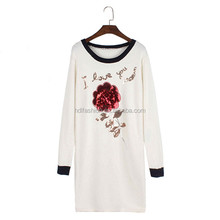 Custom made lady elegant casual rose pattern sequin dress