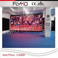 CE RoHS DMX RGB3in1 P5 2.8X6m free shipping flexible <strong>LED</strong> Video wall <strong>led</strong> moving message <strong>display</strong> /fireproof