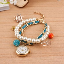 Wholesale Fashion Boutique Jewelry Gold Plated Nautical Captain Pearl Bracelet