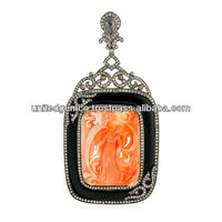 Coral Gemstone Cameo Pendants, Black Onyx Gemstone Cameo Pendants, Pave Diamond Designer Pendants Jewelry