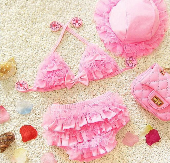 3pcs Baby Girls Swimwear Kids Swimming Bikinis Siamese skirt type swimsuit one piece lace sweet Bathing Suit Swimsuit with Cap