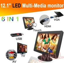whosale price 12.1 inch tft lcd monitor touch screen monitor with USB+AV+TV+VGA+HDMI port