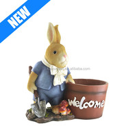Rabbit Bunny Statue Sculpture Flower Plant